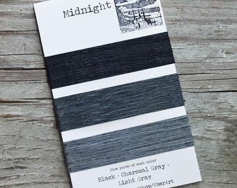 Irish Waxed Linen Thread, Bookbinding Thread, 4 ply, Midnight colors, Black, Charcoal Gray, Light Gray, 5 yards each color