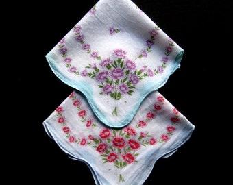 Vintage Handkerchiefs - Set of 2 - Spring Summer Handkerchiefs, Vintage Hankies, Hanky, Floral, Flowers, Purple Pink, Cotton, Collectibles