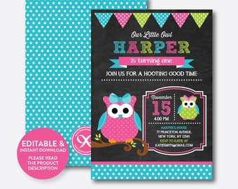 Owl birthday invites etsy instant download editable owl birthday invitation filmwisefo