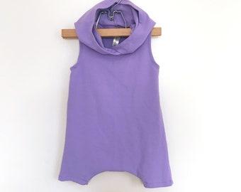 Hooded Lilac Short Sleeveless Romper | summer romper, harem romper, baby onesie, solid romper