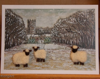 Cirencester Park Flock, Felted Wool, Sheep, Lamb, Rural Scene, Gift, Art Card