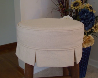 Box Pleat Round Bar Stool Slipcover, Canvas Barstool Cover with Cushion or without