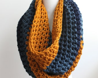 Oversized Knit Scarf, Huge Infinity Scarf, Crochet Scarf, Chunky Scarf, Choice of Three Colors, Custom Scarf