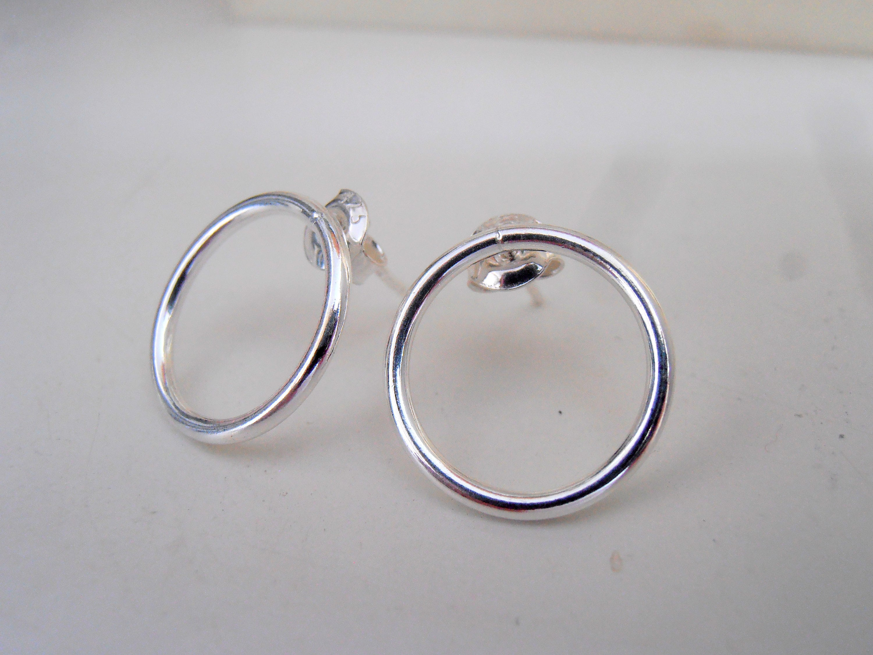 products circle silver in open stud salt gold earrings