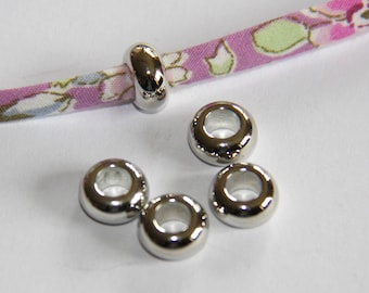 LOT 5 10 * 5MM SILVER ROUND BEADS