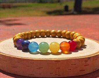 Chakra bracelet, 7 Chakra bracelet, Healing Crystal Bracelet, 7 chakra wood bracelet, Chakra Stones, Wooden Chakra Bracelet, Chakra Jewelry