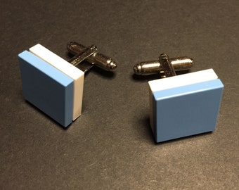 Lego cuff links - Light Blue on White