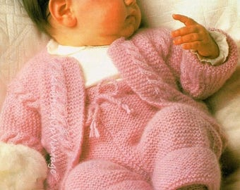 Baby Knitting Pattern PDF Double Knit Vintage Jacket, Trousers, Bootees 18-20