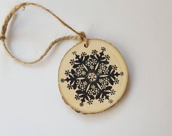 Snowflake Woodslice Christmas ornament