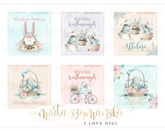 Easter printable digital collage sheet - pastel and watercolor rabbits - scrapbookind, cardmaking, party supplies POLISH EDITION