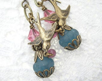 Gathering Sweets- Antiqued Brass Sparrow Pink and Blue Dangle Earrings- Morning Glory Designs