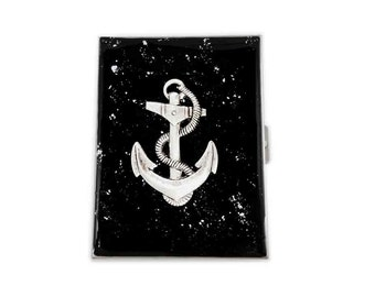 Metal Cigarette Case Nautical Anchor Inlaid in Hand Painted Glossy Black Onlyx Enamel with SIlver Splash Neo Victorian Accessory
