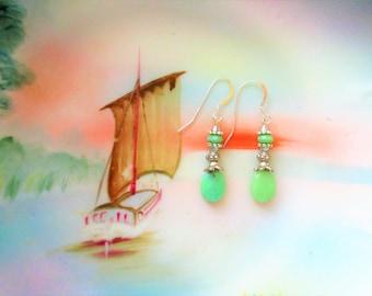 Chrysoprase earrings, silver earrings, boho silver earrings, picasso earrings, spring green earrings, Chrysoprase, mint green earrings