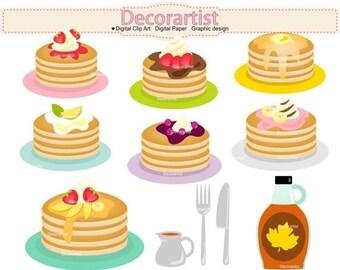 ON SALE Pancake clipart, pancakes clipart, pancake party clipart, pancakes clipart, INSTANT Download, Fruit