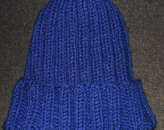 New Handmade Midnight Blue Easy Fit Ribbed Knit Hat - Medium (Darker Blue than pics show)