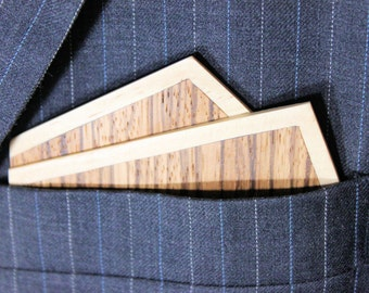 Exotic Wooden Bow Tie Solid Zebra and Oak Wood Pocket Square