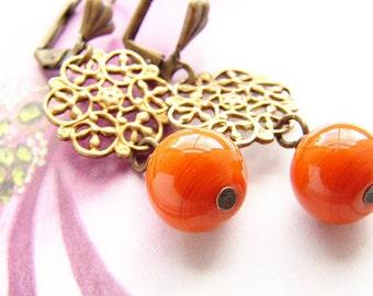 Tangerine glass drop earrings, vintage style earrings, Orange statement jewelry set