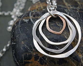 Layering Necklace, Hammered Circle Necklace, Silver Circle Jewelry, Circle Pendant, Long Pendant Necklace,Silver and Bronze Necklace