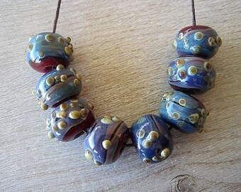 Lampwork Rustic 8 Glass Red and Blue Purple Raku Textured Beads