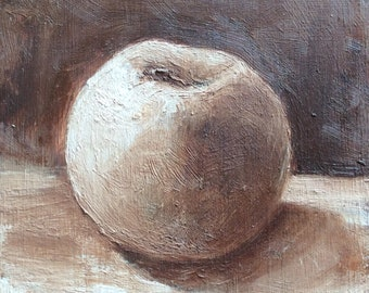 Apple Grisaille oil painting original art 5 x 5""