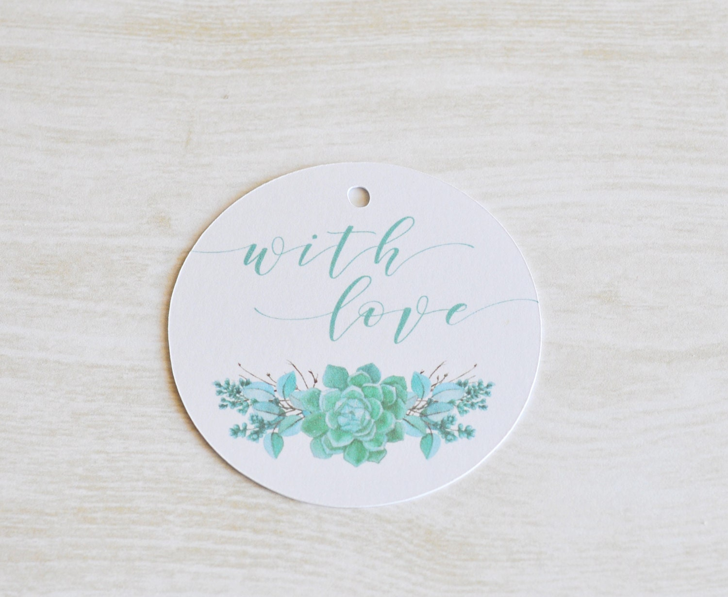 With Love Gift Tag, Succulents Watercolour, Wedding Favor Tag ...