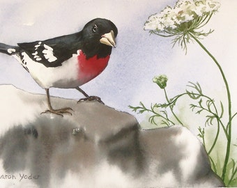 "Watercolor Painting - Original Painting - 7"" x 10"" Bird Painting - Rose Breasted Grosbeak - Wildlife Art - Wall Art - Home Decor"