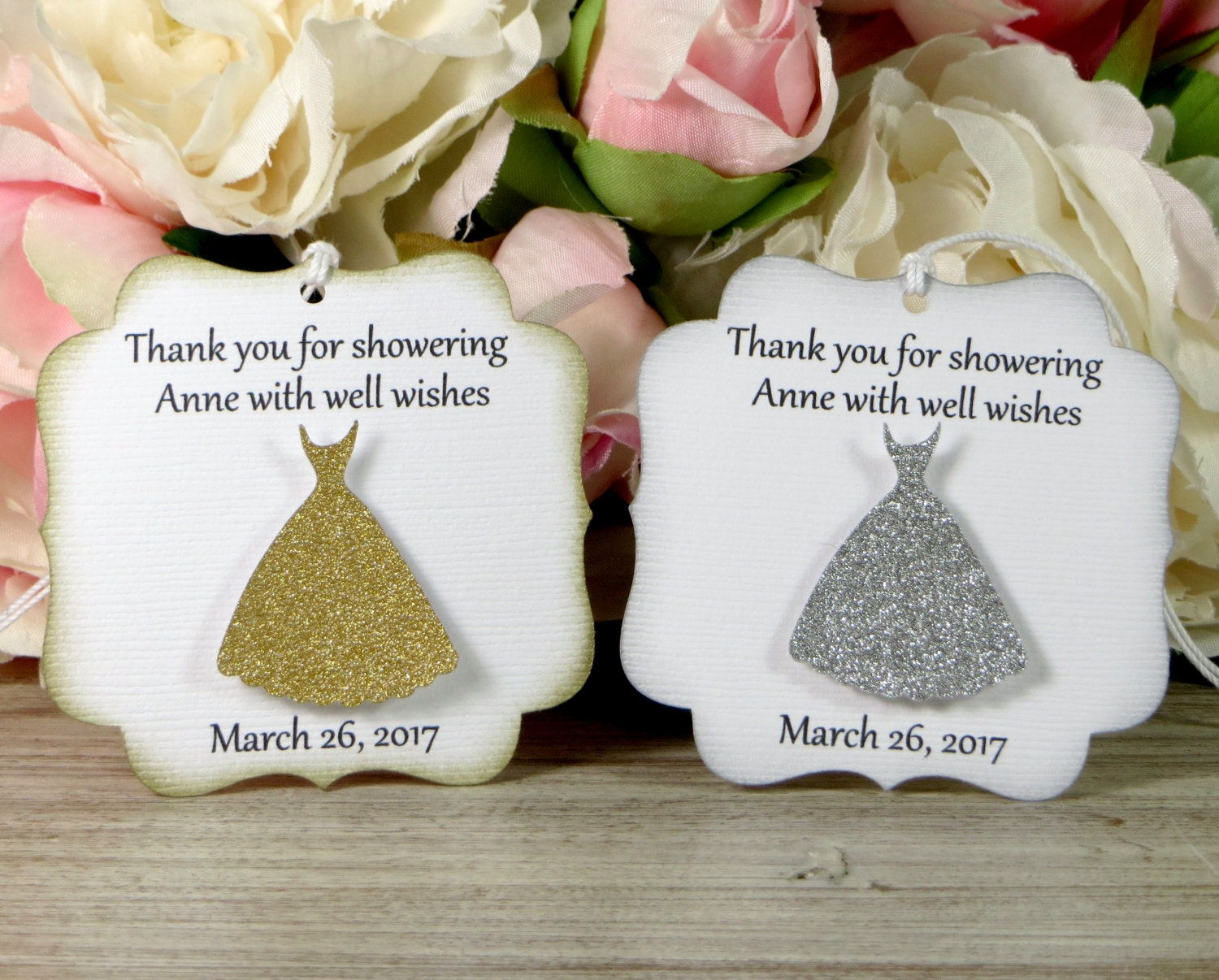 Silver bridal shower favor tags Gold bridal shower thank you