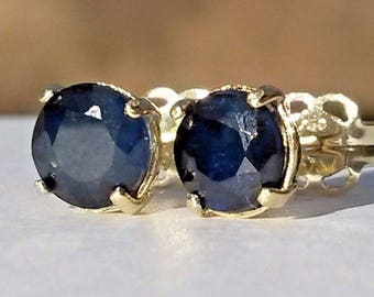 Natural Madagascan blue sapphire stud earrings in 9k gold 5mm
