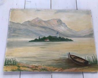 Vintage Unframed Original Oil Of Lake in Switzerland/France