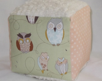 Cool Sage Owls Fabric Block Rattle Toy - SALE