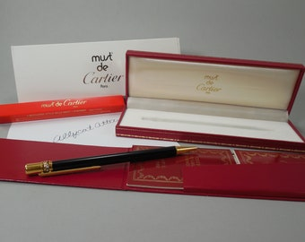 Vintage Must De Cartier Pen Black Laquer Tri Color Gold Triple Rolling Ring Gold End Caps Cartier Box Paperwork Style Bille Must Laque Noire