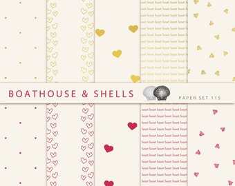 10 Digital Valentine Papers with Hearts and Dots in red/gold/off-white, elegant design, Digital Scrapbook Supplies - 115