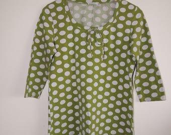 FREE SHIPPING - Vintage MARIMEKKO Green and white polka dots 3/4 sleeve soft top, size Women's M