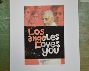 Los Angeles Loves You - Faces - Linocut - Book Page Art - Hand-pulled - Reclaimed - Repurposed