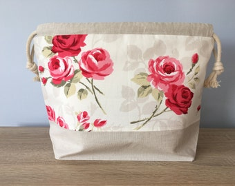 Large knitting / crochet project bag - Romantic Rose