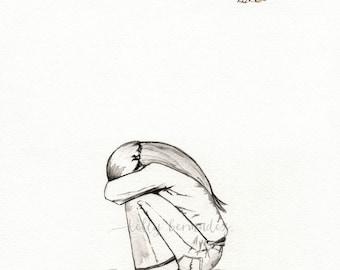 Watercolor print, Wall art, O' My Soul, Hope, Minimal Girl, watercolor print, black and white, Archival