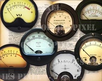 12 Vintage Meter Collection Digital Collage Sheet 2 inch & 1.5 inch Circle images Instant Download Great for Bottle caps Glass Pendants OC30