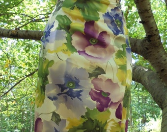 Floral wiggle  dress satin 90's does 50s summer  pin up pencil   small  from vintage opulence on Etsy