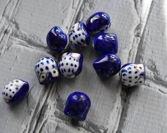 Blue Ceramic Owl Beads - Cute Nature Beads- Owl Bird Painted Bead - Dark Blue Blue Owl Jewelry Supply- pack of 10