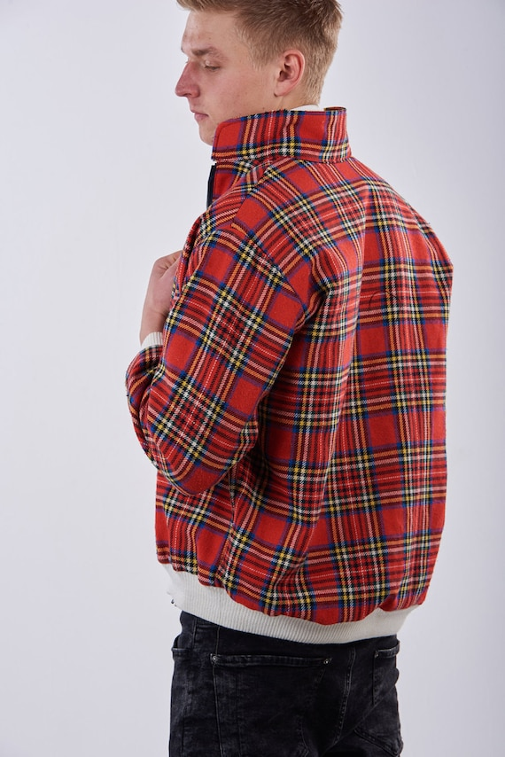 Vintage Reworked Bespoke Tartan Harrington Jacket L (Made In Britain) - www.brickvintage.com fovND