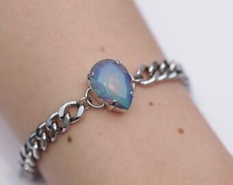 Intergalactic Moonlight Crystal / Swarovski Chain Bracelet / Stainless Steel / Curb Chain / Teardrop Crystal / Stacking