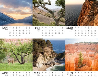 SALE 2018 Nature Calendar - Western photography art - Holiday Gifts under 25 - Husband Christmas gift - Stocking stuffer