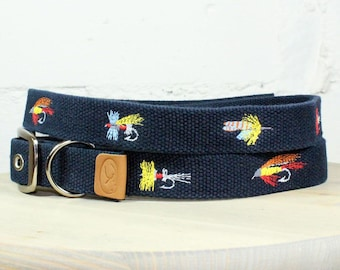 Fly Fishing Lures Dog Collar - Navy