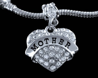Mother charm fits all the big name european style bracelets Crystal heart mother charm