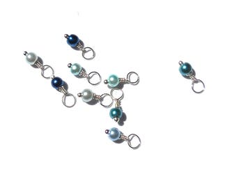 10PC. MIXED COLOR Pearlized Glass 12.5MM x 4MM Handmade Bead Dangle Charm//10Pc. Bead Charms Adorned with Antique Silver Tone Plated Accents