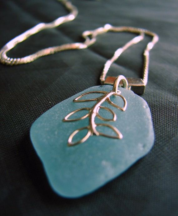 Sea Vine sea glass necklace in soft aqua