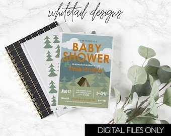 Camping Baby Shower Invitation, Camp Baby Shower Invite, Camping Invitation, Baby Shower Invite, Camp Shower Invite, DIGITAL YOU PRINT