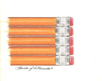 "Drawing of pencils, ""itsy print"" series 4"" x 4"", colored pencil, art, photo realistic, illustration, print of original, archival cover stock"