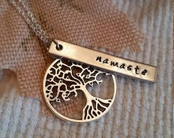 Hand Stamped Namaste Necklace, Tree of Life, Yogi Necklace, Bar Necklace
