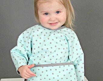 Teal and grey Long sleeved bib, toddler bib, sleeves, pocket bib, bapron, smash cake bib, toddler Mighty Bib - 12 Mos - 3T